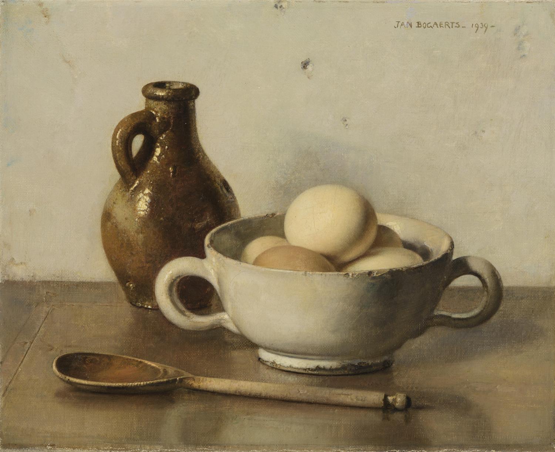 Jan Bogaerts | Stilleven met eieren, stenen kruik en houten lepel | Kunsthandel Bies
