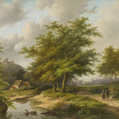 Jan Evert Morel II | Boomrijk zomerlandschap met personen | Kunsthandel Bies