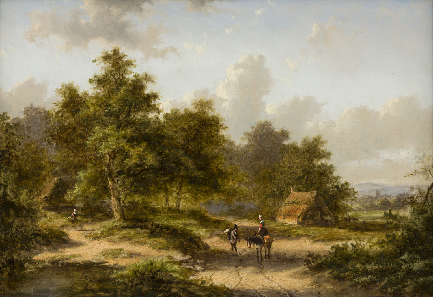 Jan Evert Morel II | A summer landscape with figures on a country road | Kunsthandel Bies | Bies Gallery