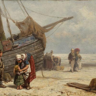 Jan H.B. Koekkoek | Strandgezicht met vissersvolk en een wandelend echtpaar | Kunsthandel Bies