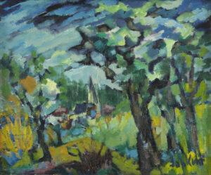Jan Kuhr | Boomrijk landschap een met dorp in de verte | Kunsthandel Bies
