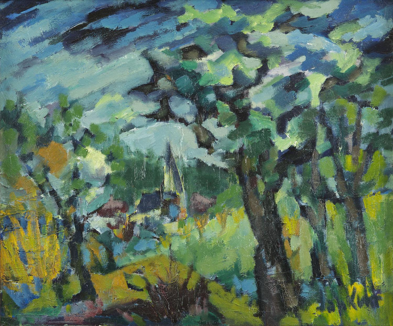 Jan Kuhr | Boomrijk landschap met een dorp in de verte | Kunsthandel Bies | Bies Gallery