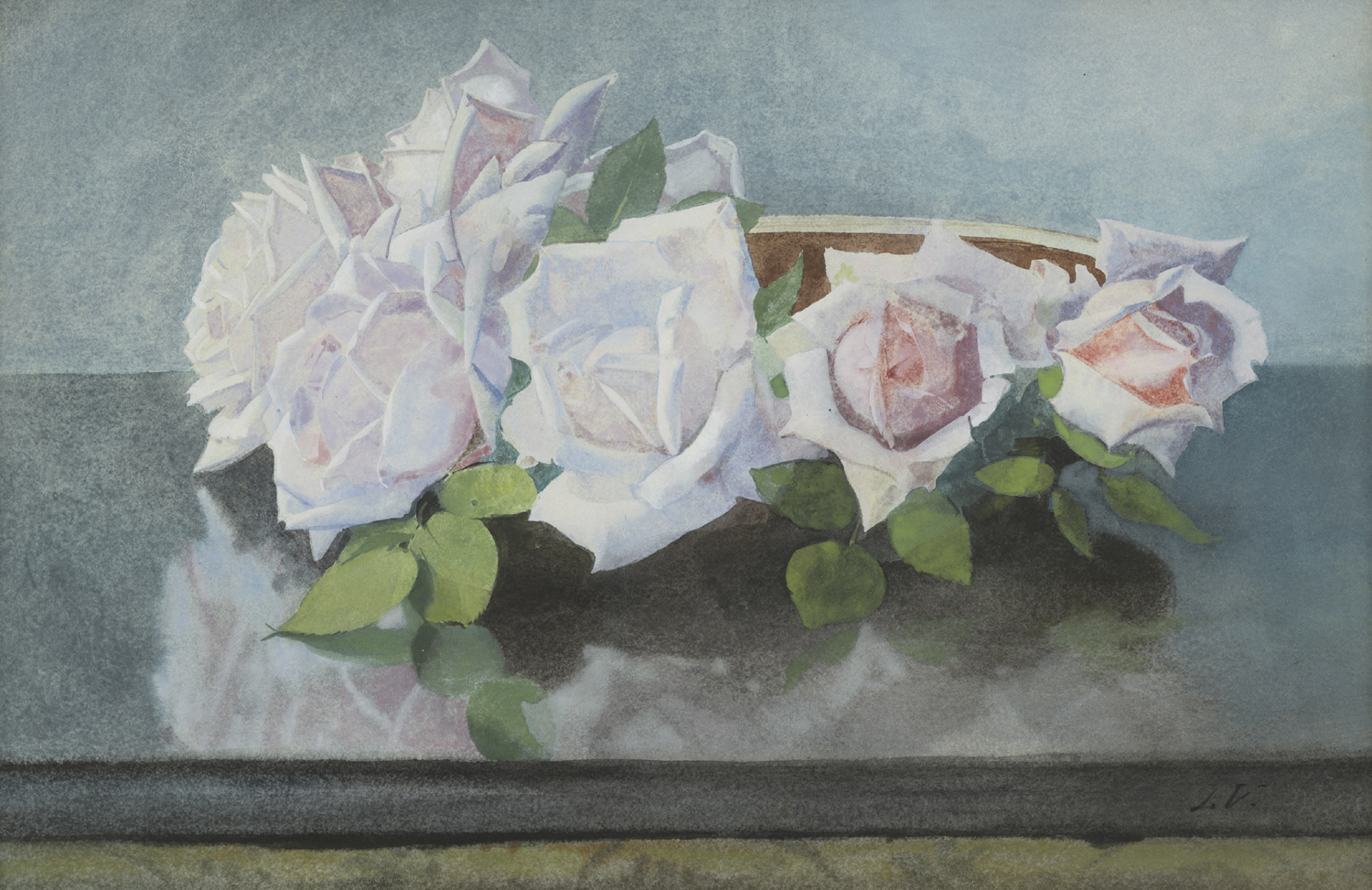 Jan Voerman Sr. | 'La France' roses in a bowl | Kunsthandel Bies | Bies Gallery
