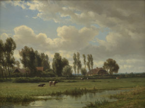 Jan Willem van Borselen | Hollands polderlandschap met koeien | Kunsthandel Bies