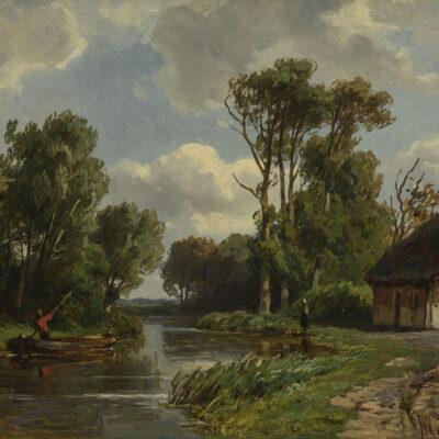 Jan WIllem van Borselen | Zomers landschap met boerderij aan het water | Kunsthandel Bies