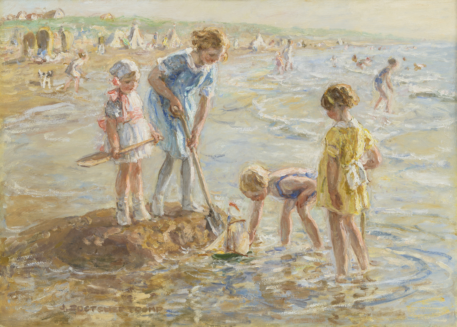 Jan Zoetelief Tromp | Children playing on the beach | Kunsthandel Bies | Bies Gallery