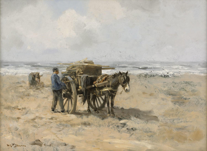 Willem George Frederik ('Willem') Jansen | Strandjutters met paard en kar | Kunsthandel Bies