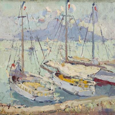 Jean Le Mayeur de Merprès | Zeilboten in een Franse haven | Kunsthandel Bies