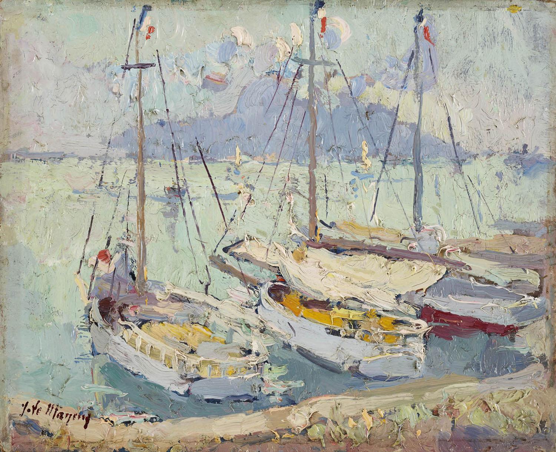 Jean Le Mayeur de Merprès | Sailing boats in a French harbour | Kunsthandel Bies | Bies Gallery