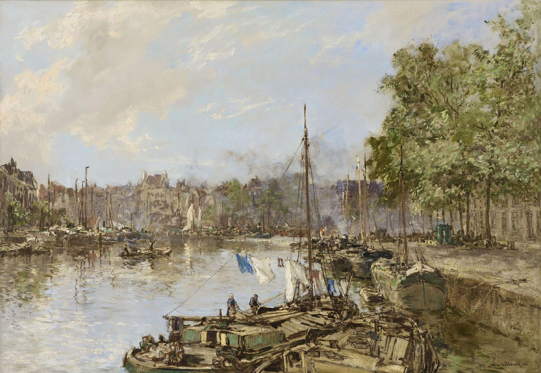 Johan Hendrik van Mastenbroek | Rotterdam, a view of the Wijnhaven, (Laundry Day) | Kunsthandel Bies | Bies Gallery