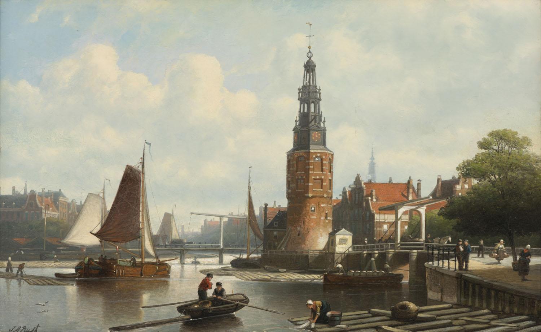 Johan Adolph Rust | Stadsgezicht met de Montelbaanstoren in Amsterdam | Kunsthandel Bies