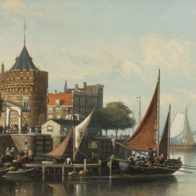 Johan Adolph Rust | Stadsgezicht met de Schreierstoren in Amsterdam | Kunsthandel Bies