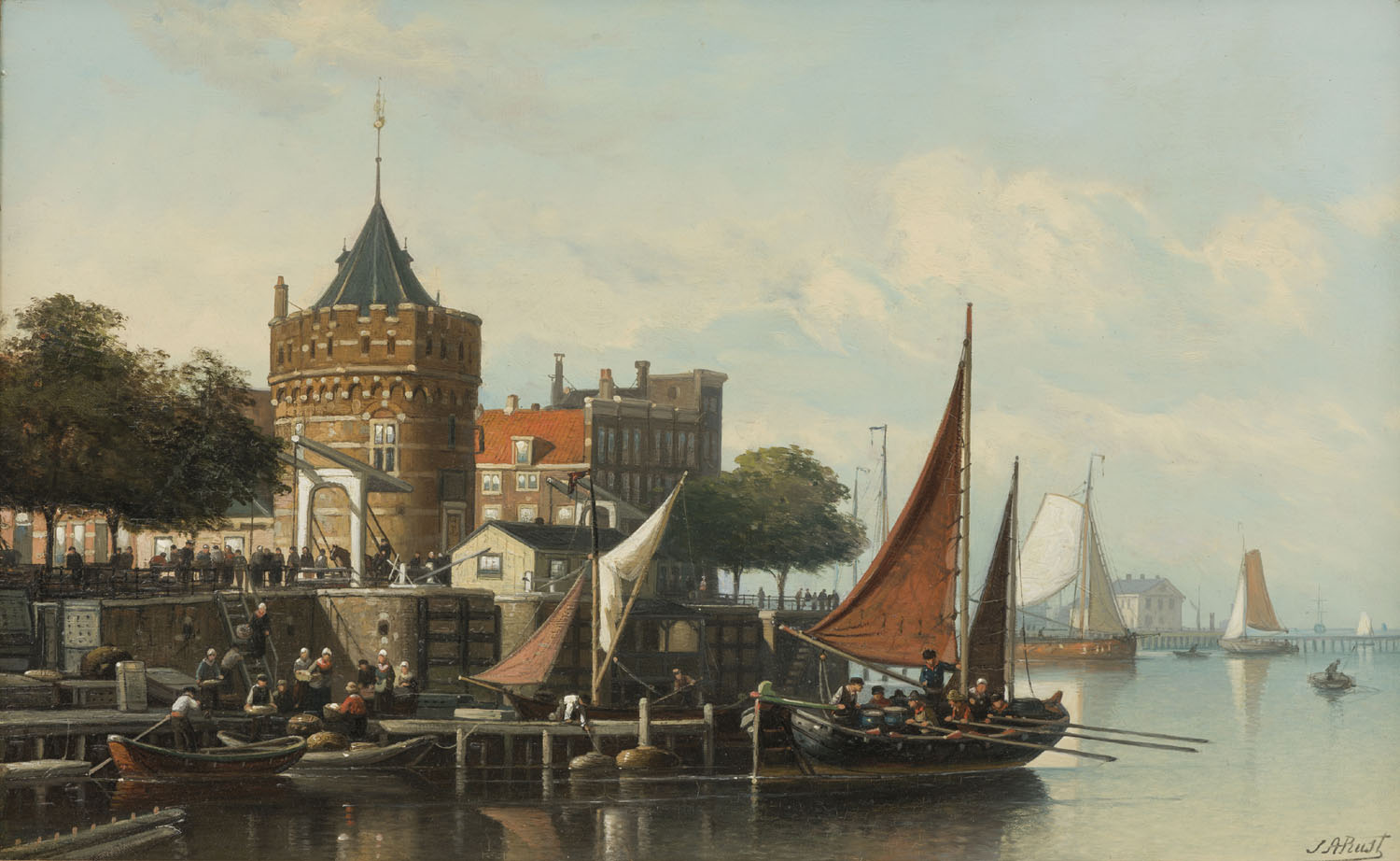 Johan Adolph Rust | A view of Amsterdam with the Scheierstoren | Kunsthandel Bies | Bies Gallery
