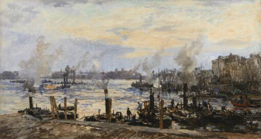Johan Hendrik van Mastenbroek | Rotterdam, gezicht op de Leuvehaven | Kunsthandel Bies