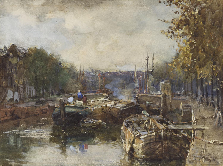 Johan Hendrik van Mastenbroek | Rotterdam, gezicht op de Nieuwe Haven | Kunsthandel Bies
