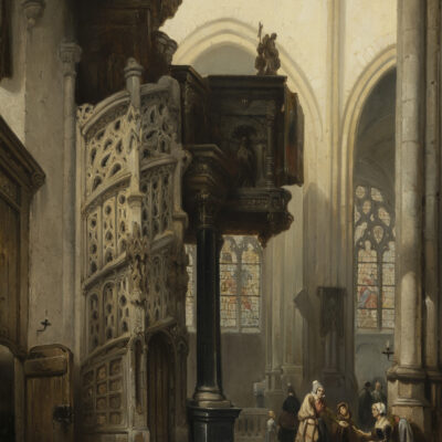 Johannes Bosboom | Interieur van de St.Maclou-kerk te Rouen | Kunsthandel Bies