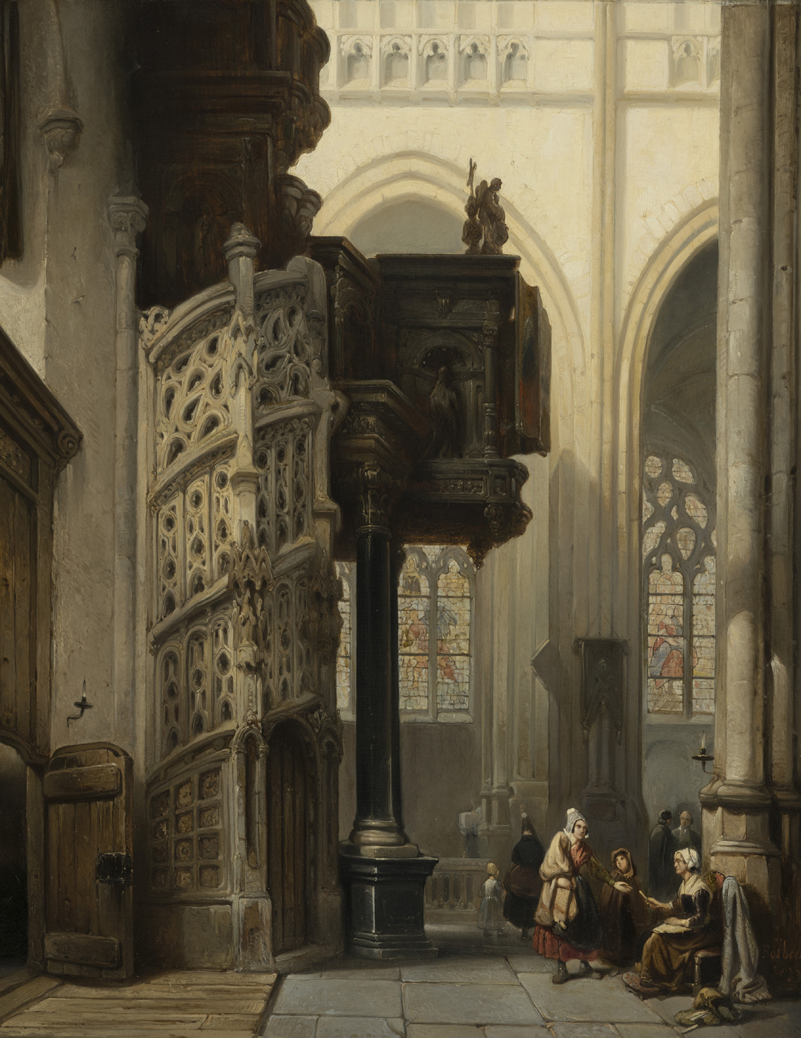 Johannes Bosboom | Interior of the St Maclou Church in Rouen, France | Kunsthandel Bies | Bies Gallery