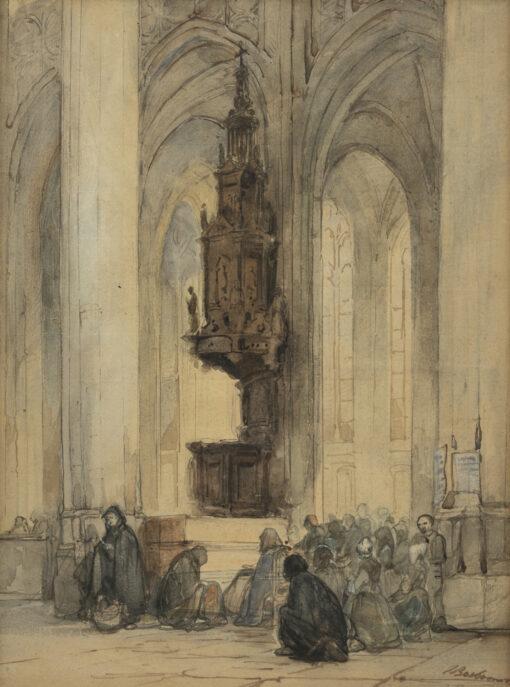 Johannes Bosboom | Preekstoel in de St. Janskerk te 's-Hertogenbosch | Kunsthandel Bies