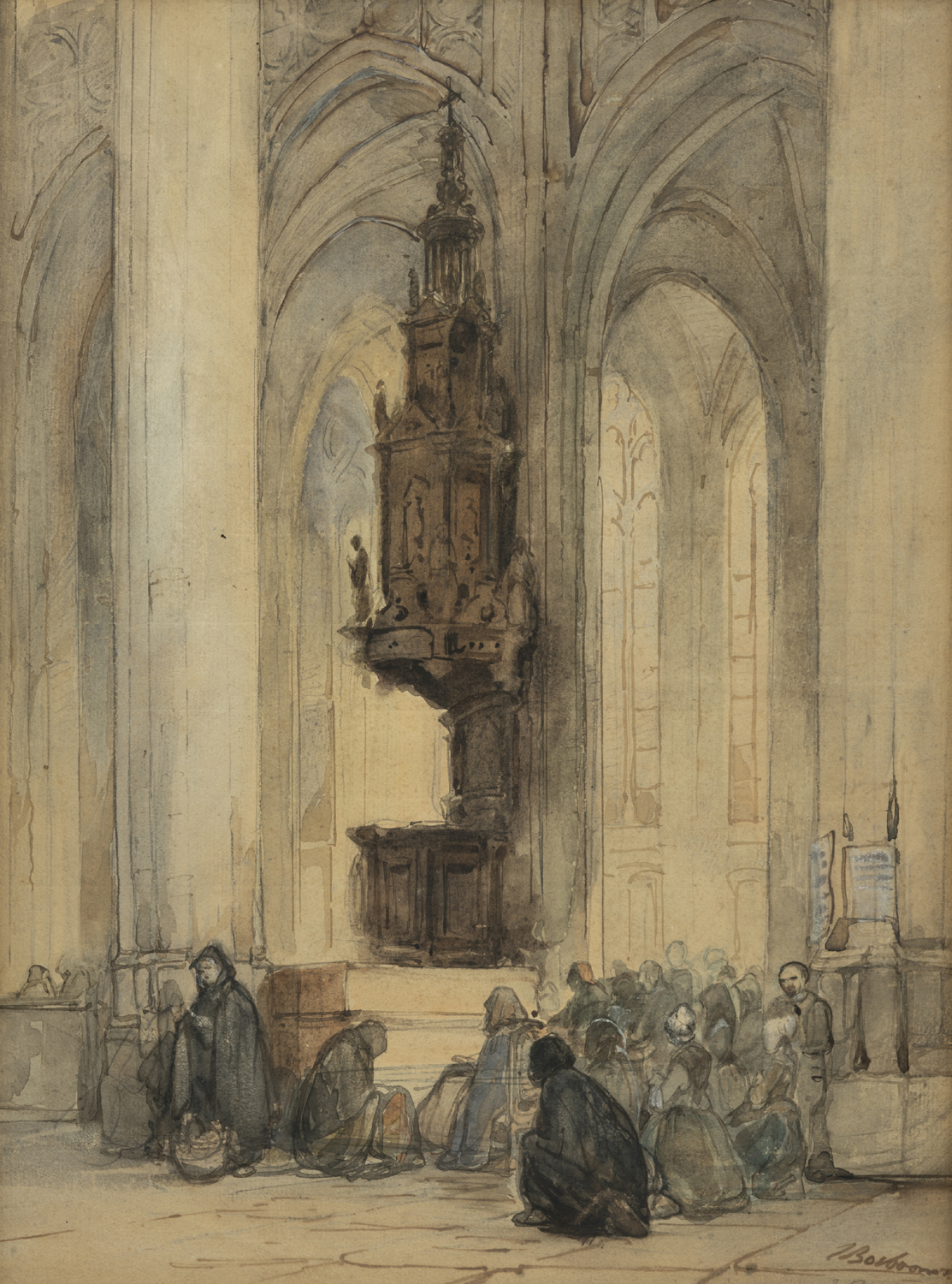 Johannes Bosboom | Pulpit of the Cathedral of St. John (Sint-Janskathedraal), 's-Hertogenbosch | Kunsthandel Bies | Bies Gallery