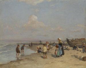 Johannes Evert Hendrik Akkeringa | Strandgezicht met kinderen met rechts een vissersboot
