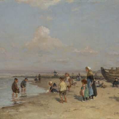 Johannes Evert Hendrik Akkeringa | Strandgezicht met kinderen met rechts een vissersboot