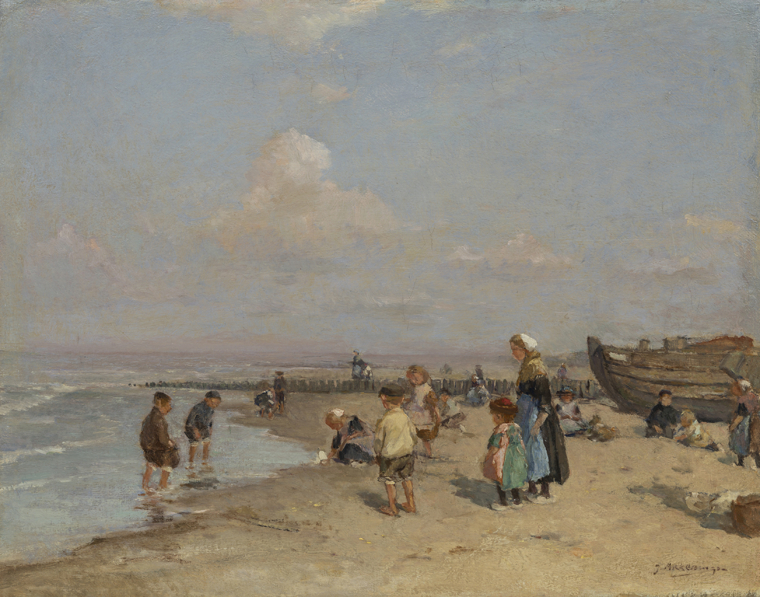 Johannes Evert Hendrik Akkeringa | A beach scene with children, a fishing boat on the right | Kunsthandel Bies | Bies Gallery