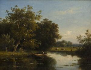 Johannes Pieter van Wisselingh | Man in een bootje op een plas | Kunsthandel Bies