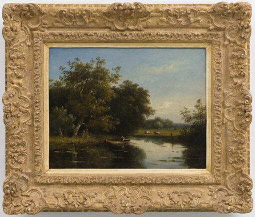 Johannes Pieter van Wisselingh   Man in een bootje op een plas   Kunsthandel Bies