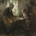 Johannes Weiland   Twee meisjes in een interieur   Kunsthandel Bies