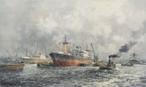 Marius de Jongere (psd. Marinus Johannes Drulman) | Rotterdam, havengezicht | Kunsthandel Bies