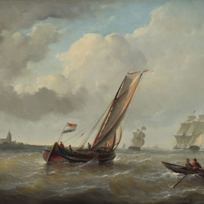 Christiaan Cornelis Kannemans | Zeilschepen voor de kust | Kunsthandel Bies