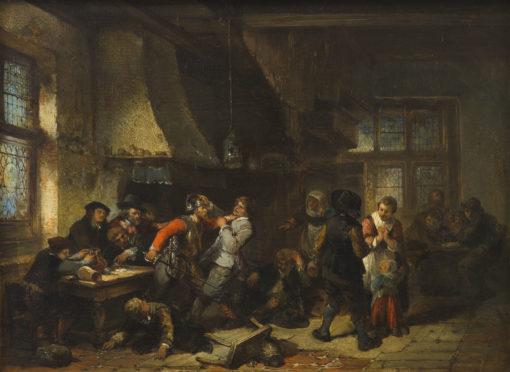 Herman Frederik Carel ten Kate | Herberginterieur met twistende kaarspelers | Kunsthandel Bies