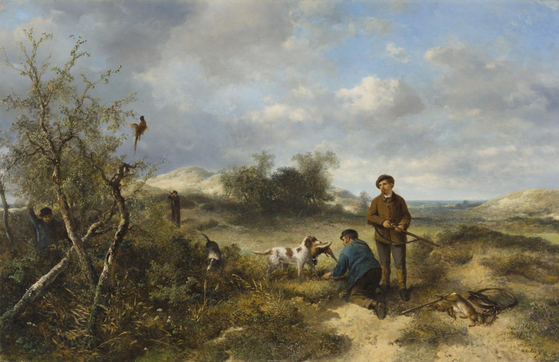 Mari ten Kate | Jachttafereel in de duinen | Kunsthandel Bies