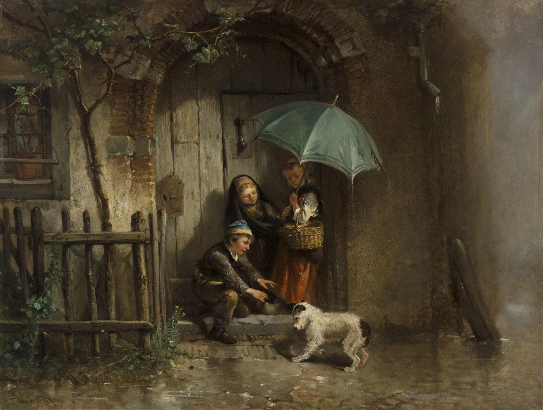 Mari ten Kate | Children taking shelter from the rain | Kunsthandel Bies