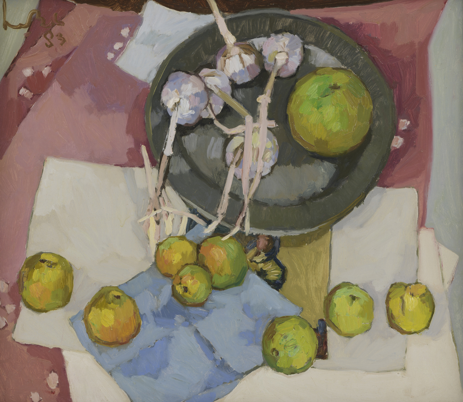 Kees Bol | A still life with apples and garlic| Kunsthandel Bies | Bies Gallery
