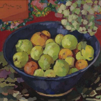 Kees Bol | stilleven met fruit in een blauwe schaal | Kunsthandel Bies