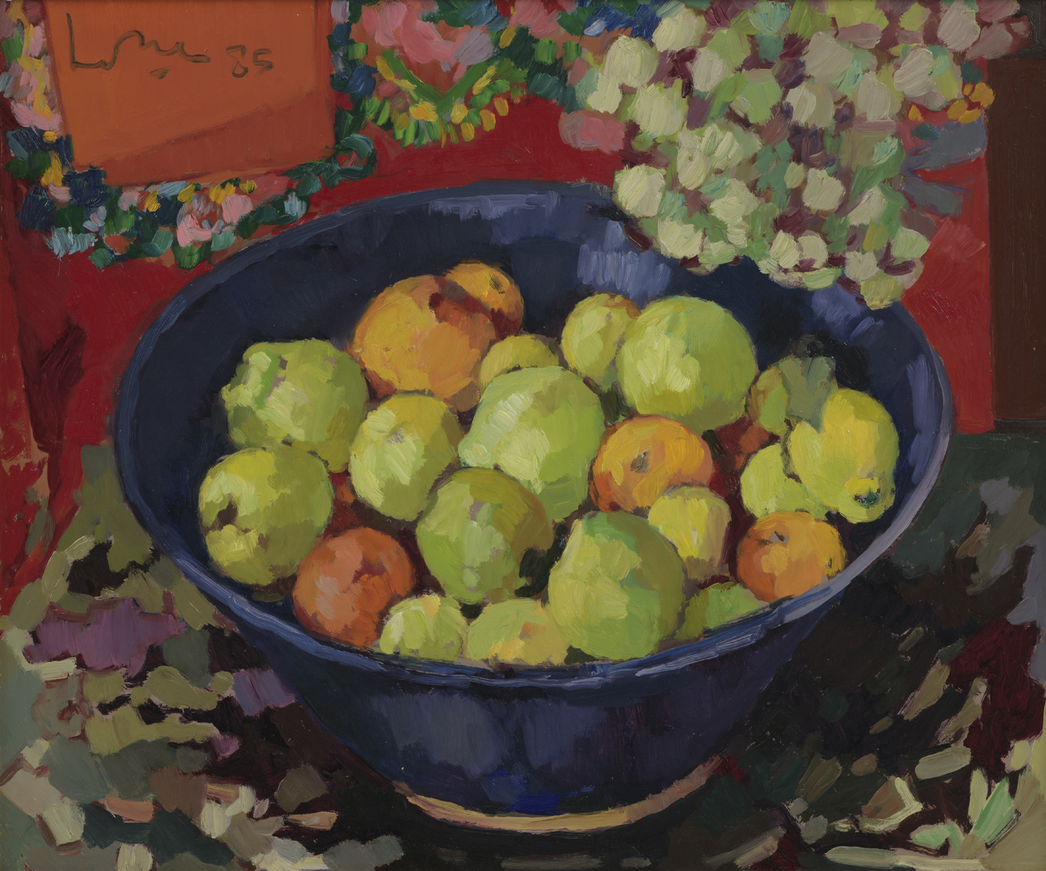 Kees Bol | A still life with fruit in a blue bowl | Kunsthandel Bies | Bies Gallery