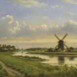 Lodewijk Johannes Kleijn | Zomers landschap met molen langs een rivier | Kunsthandel Bies