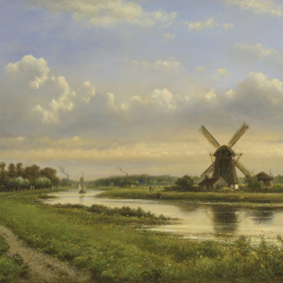 Lodewijk Johannes Kleijn | Zomers landschap met molen langs een rivier | Kunsthandel Bies