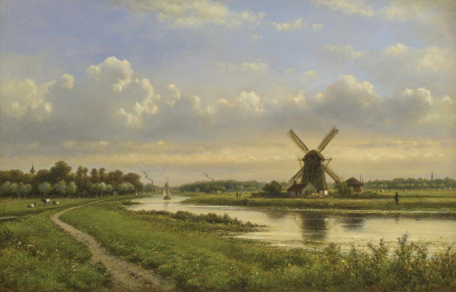 Lodewijk Johannes Kleijn | A summer landscape with a windmill by a river | Kunsthandel Bies