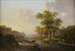 Willem de Klerk | Een zomers rivierlandschap met vee | Kunsthandel Bies