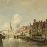 Johannes Christiaan Karel Klinkenberg | Alkmaar, Gezicht op het Luttik Oudorp met de Waag op de achtergrond | Kunsthandel Bies