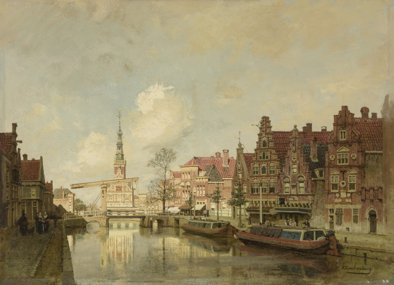 Johannes Christiaan Karel Klinkenberg | A view of the Luttik Oudorp in Alkmaar, with the Waag beyond