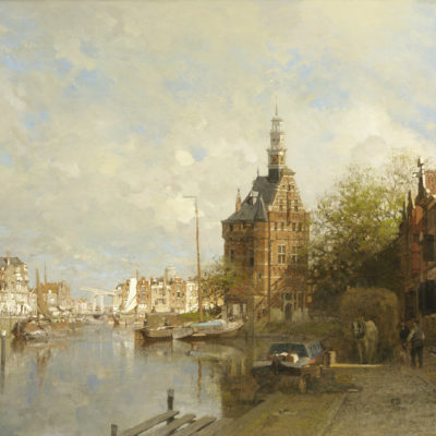 Johannes Christiaan Karel Klinkenberg | Een zonnig stadsgezicht met de Hoofdtoren te Hoorn | Kunsthandel Bies