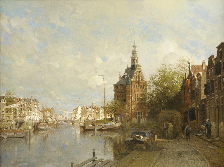 Johannes Christiaan Karel Klinkenberg | A view of Hoorn with the Hoofdtoren on a sunny day | Kunsthandel Bies | Bies Gallery