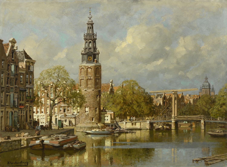 ohannes Christiaan Karel Klinkenberg | Gezicht op de Montelbaanstoren te Amsterdam | Kunsthandel Bies