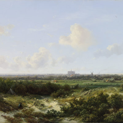 Pieter Lodewijk Francisco Kluyver | Panoramisch landschap bij Haarlem met de St. Bavo op de achtergrond | Kunsthandel Bies