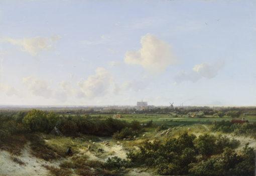Pieter Lodewijk Francisco Kluyver | Panoramisch landschap bij Haarlem met de St. Bavo op de achtergrond | Kunsthandel Bies