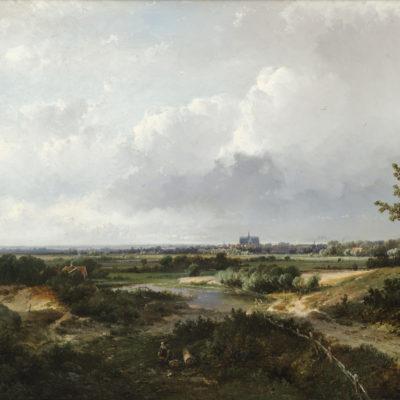 Pieter Lodewijk Francisco Kluyver | Panoramisch landschap met een gezicht op een stad | Kunsthandel Bies