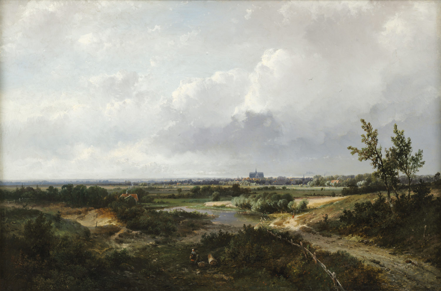 Pieter Lodewijk Francisco Kluyver | An extensive landscape with a town in the distance | Kunsthandel Bies | Bies Gallery